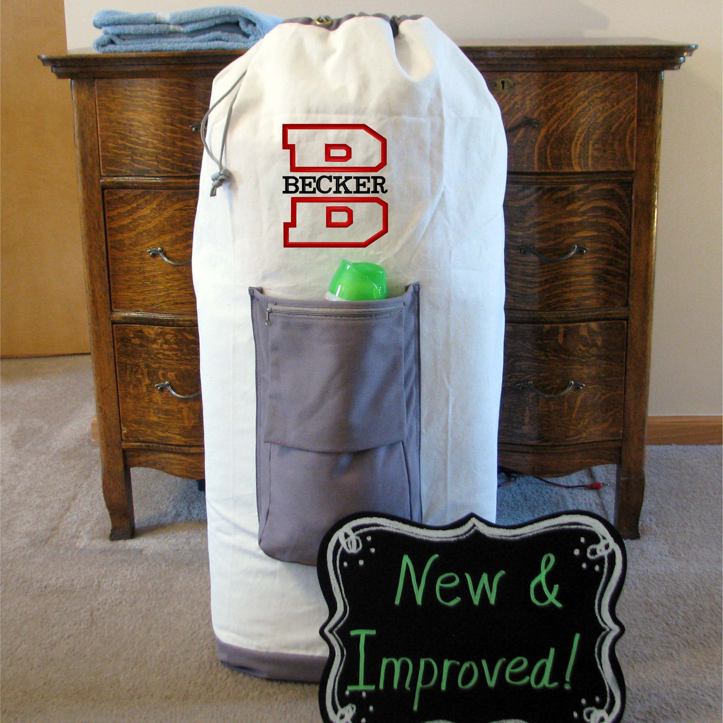 Extra Large Monogrammed Laundry Bags for Graduation Gifts and College Student Gifts