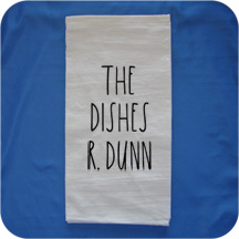 Embroidered Rae Dunn Inspired Flour Sack Kitchen Towels -  The Dishes R. Dunn
