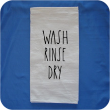 Embroidered Rae Dunn Inspired Flour Sack Kitchen Towels -  Wash Rinse Dry