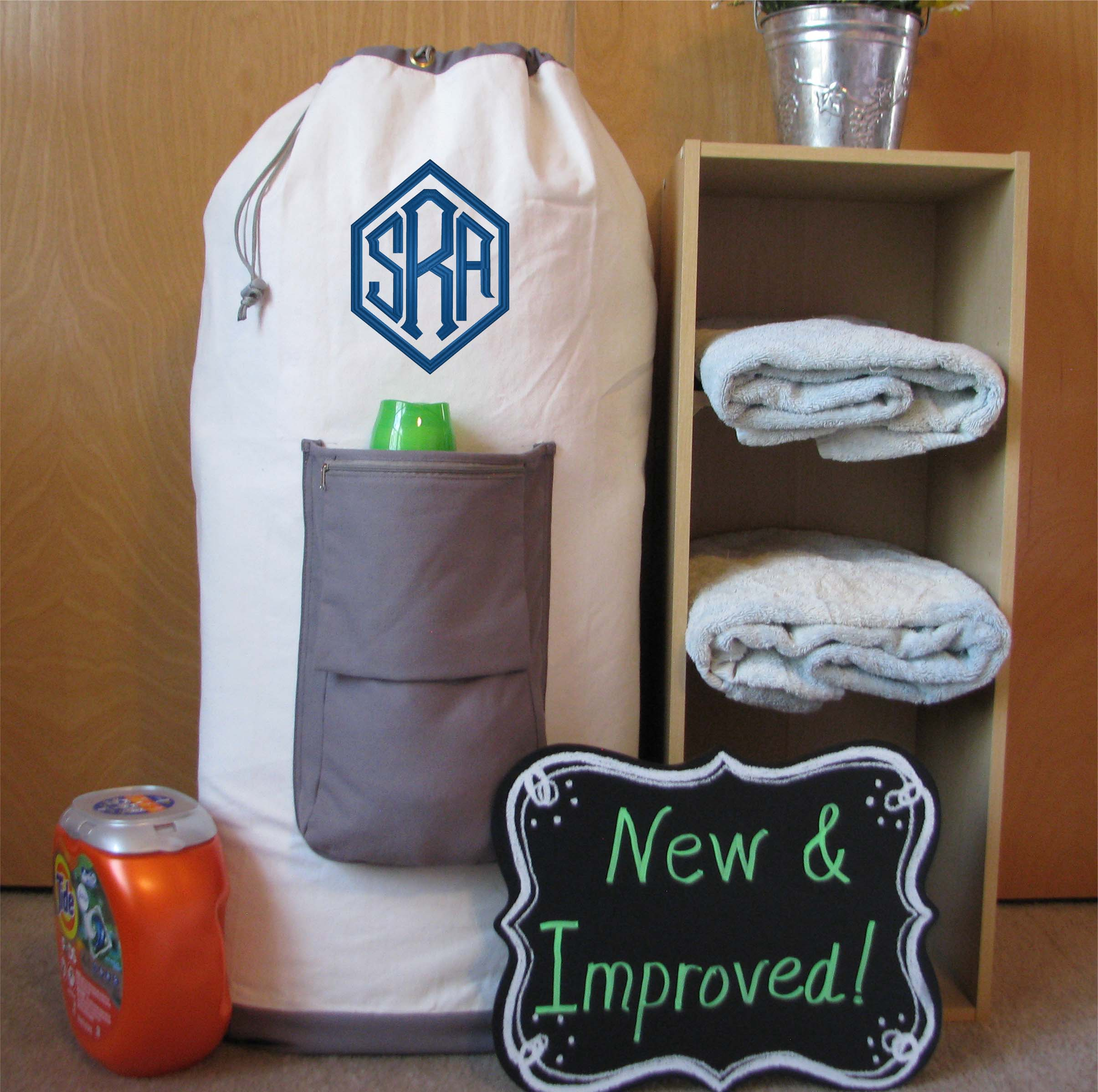 #4 Personalized Canvas Laundry Bags for Graduation Gifts and College Student Gifts